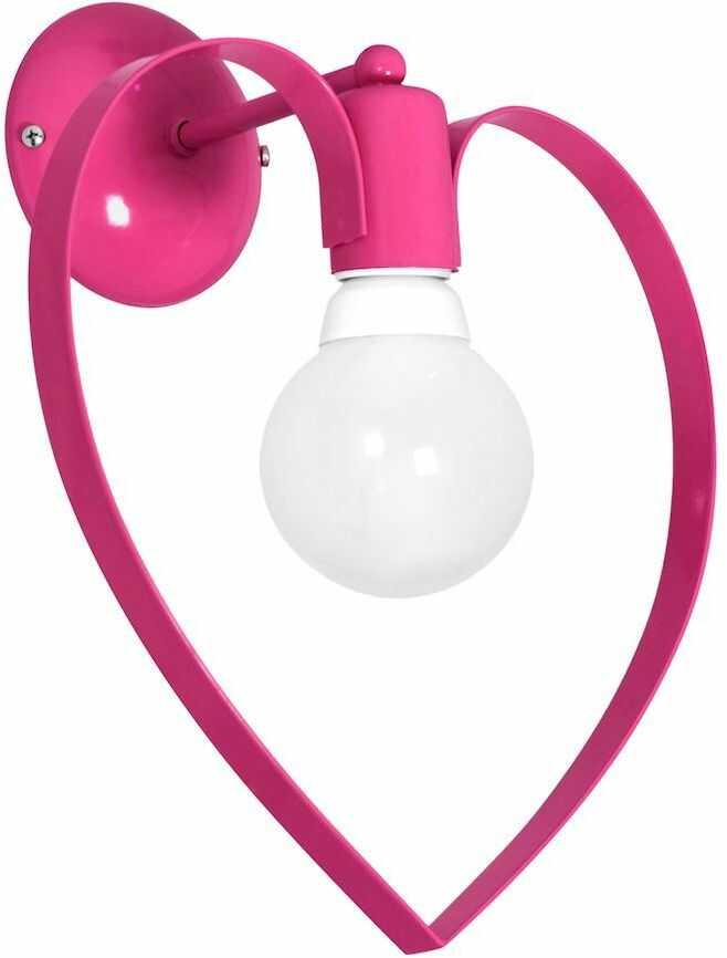 Milagro AMORE DARK PINK MLP9955 kinkiet lampa ścienna metalowe serce różowy ciemny 1xE27 36cm