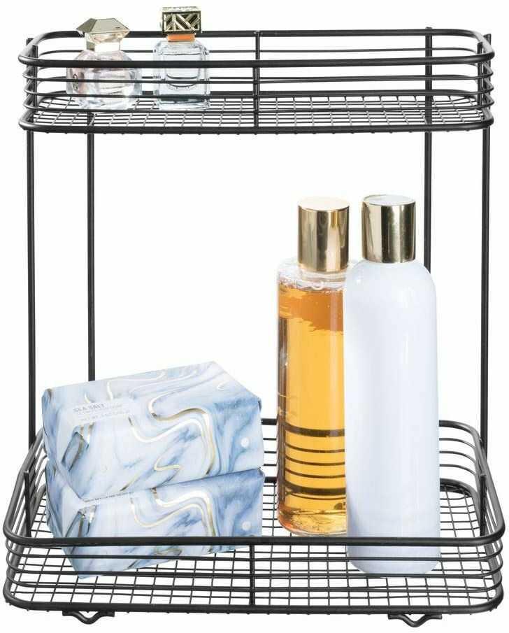iDesign Vienna regał łazienkowy, praktyczny kosz z metalu z dwoma poziomami do przechowywania kosmetyków lub na butelki z szamponem, kolor czarny matowy
