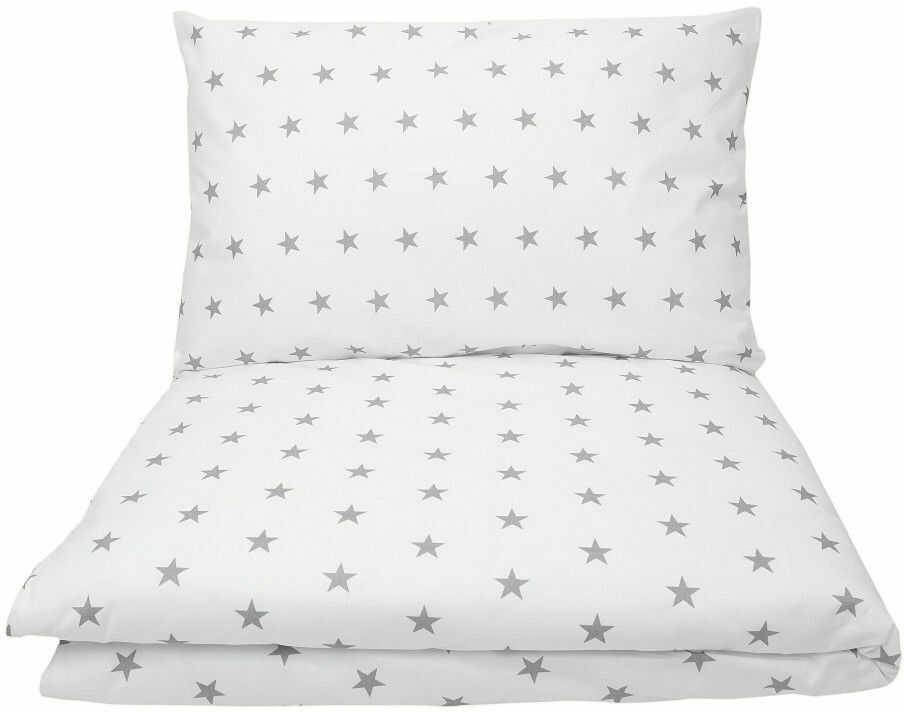 Biała pościel w szare gwiazdki do łóżeczka