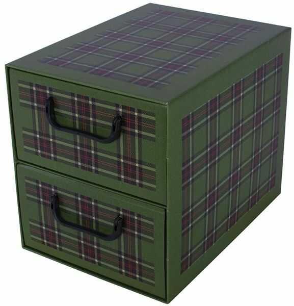 Pudełko kartonowe 2 szuflady pionowe SZKOCKA KRATA ZIELONA