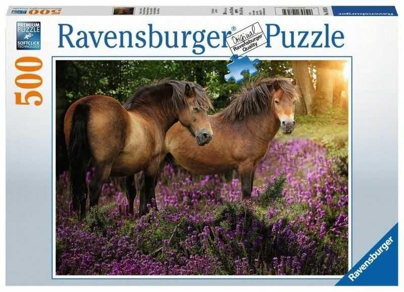 Puzzle Ravensburger 500 - Kucyki w kwiatach, Ponies in flowers