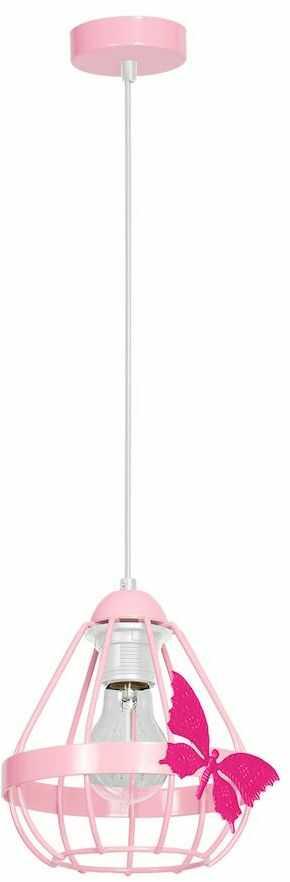 Milagro KAGO PINK MLP4927 lampa wisząca różowy metalowy koszyk motyl 1xE27 17cm