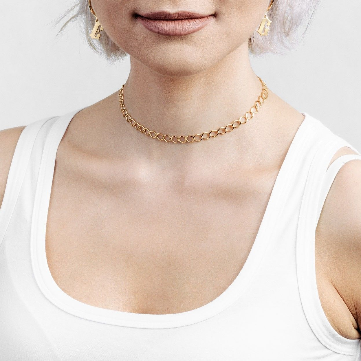 Srebrny łańcuszek choker rombo, srebro 925 : Długość (cm) - 35 + 5, Srebro - kolor pokrycia - Pokrycie platyną