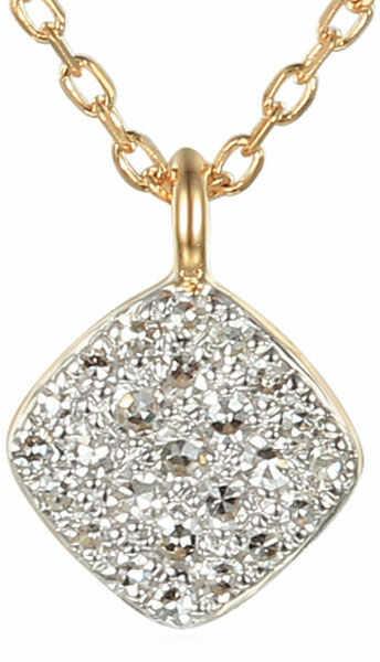 Złoty naszyjnik 585 kwadracik z brylantami diamenty
