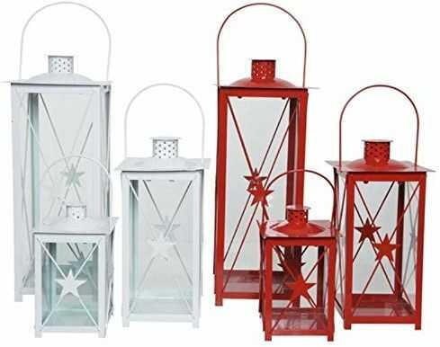 Kaemingk 8718532673815 latarnia z żelaza, czerwono-biała, dekoracja bożonarodzeniowa, wielokolorowa, 8718532673815