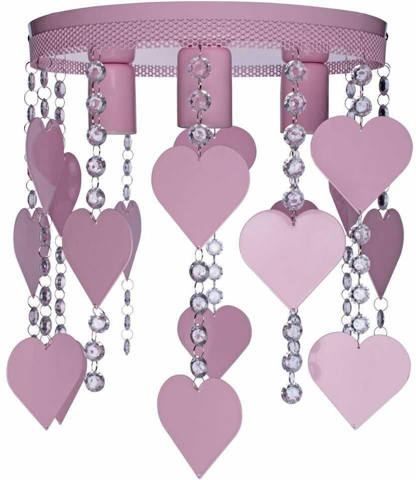 Milagro CORAZON MLP1149 plafon lampa sufitowa metal różowy kryształki serca 3xE27 35cm
