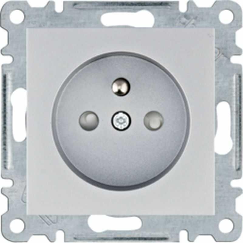 Lumina Gniazdo zasilające z uziemieniem przesłony styków 16 A/250 VAC srebrne WL1042