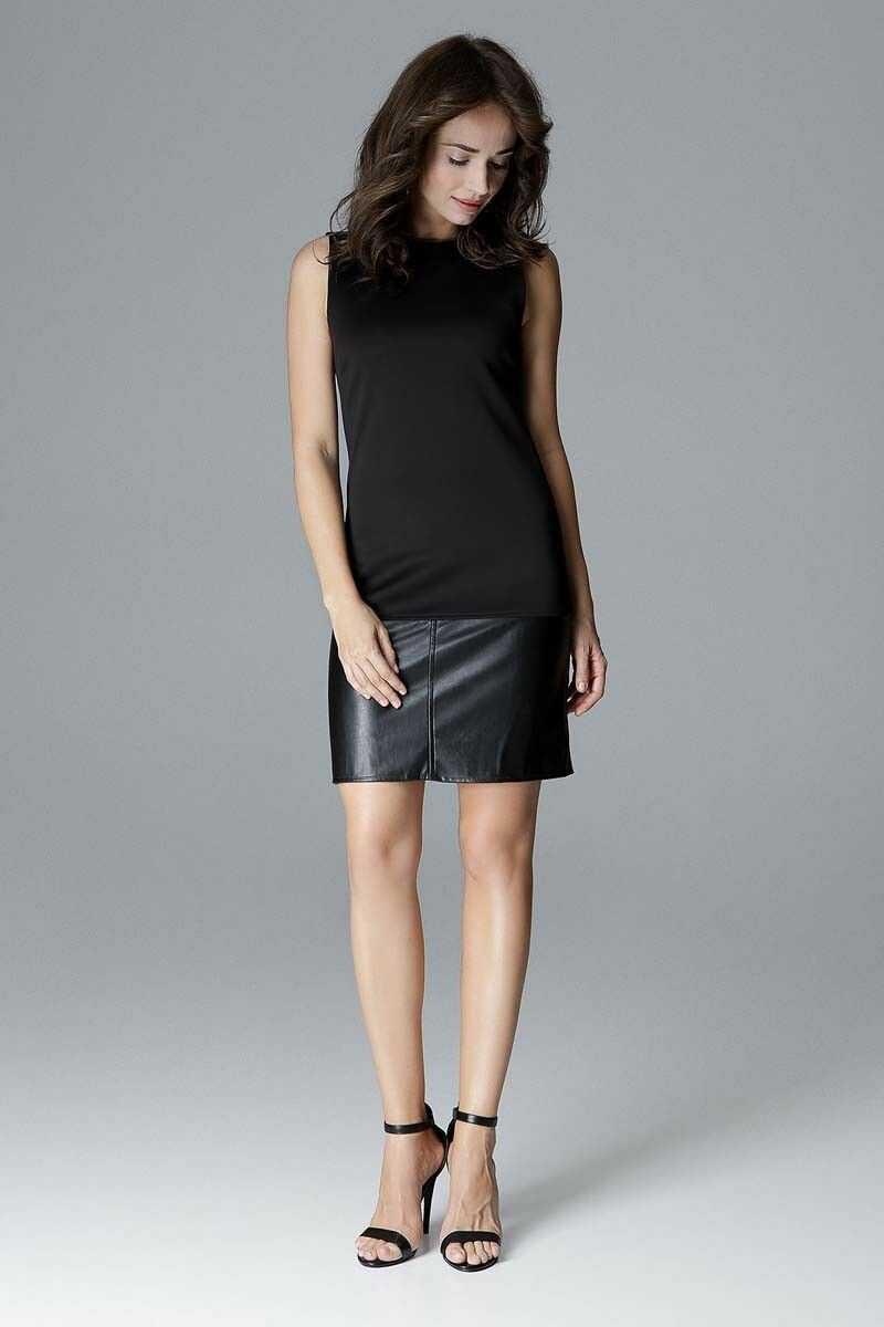 Czarna prosta sukienka z dodatkiem eko-skóry
