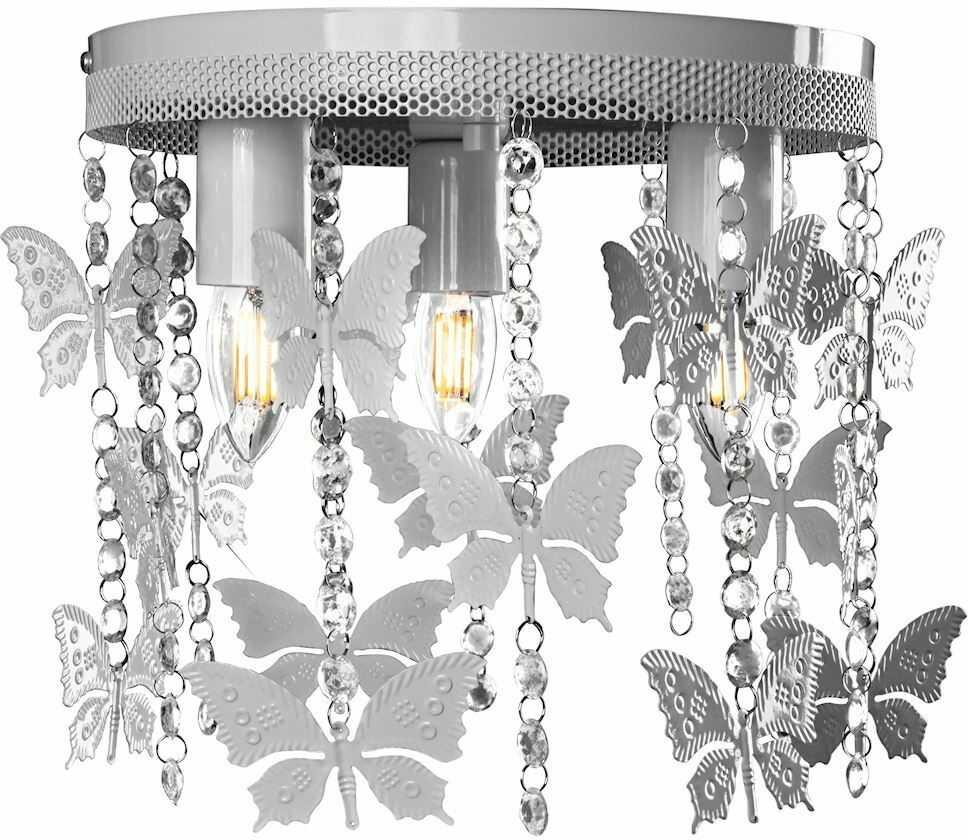 Milagro ANGELICA MLP1167 plafon lampa sufitowa metal szary kryształki motyle 3xE27 30cm