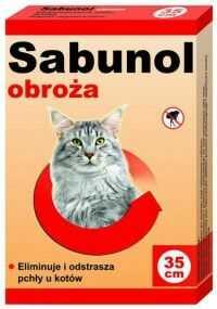 Sabunol obroża czerwona przeciw pchłom kot 35 cm