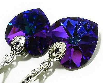 Kryształy kolczyki SREBRO serce Helio