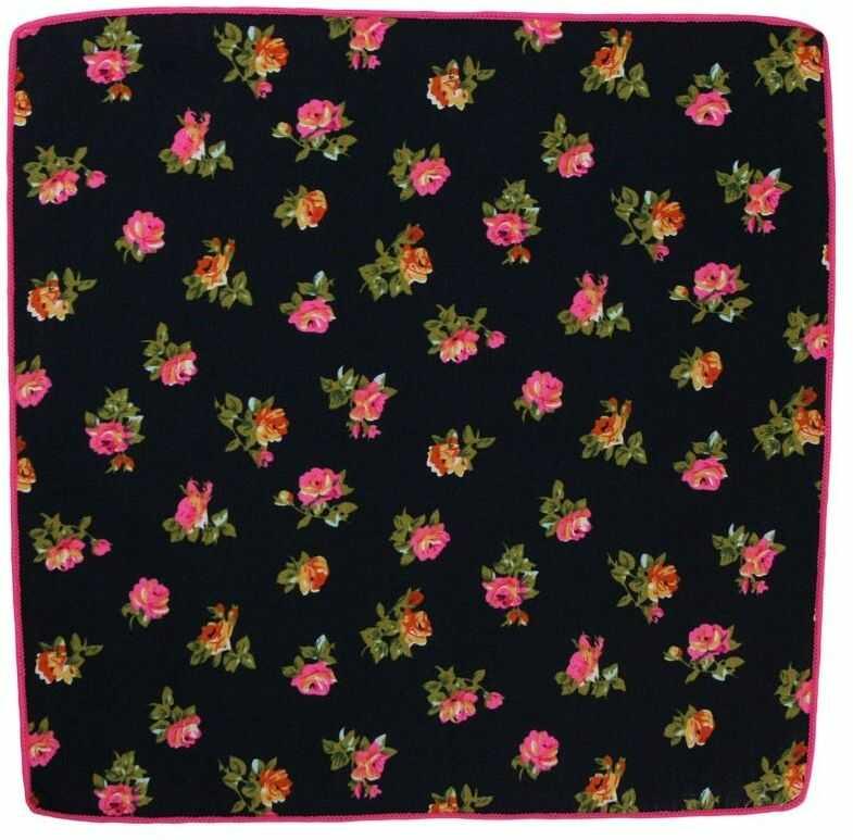 Granatowa Elegancka Męska Poszetka -ALTIES- w Różowe Kwiaty POSZALTTANIA0247