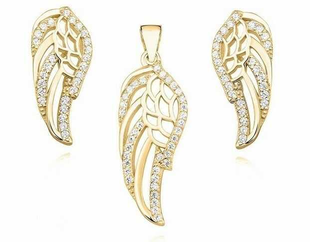 Pozłacany srebrny komplet skrzydła anioła wings cyrkonie srebro 925 Z1356Z_G