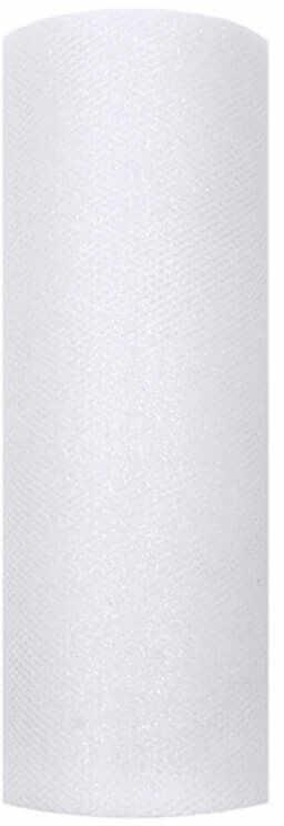 Tiul brokatowy biały - 15 cm x 9 metrów - 1 szt.