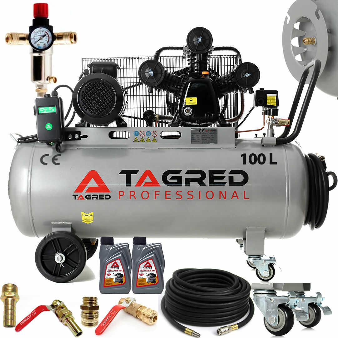 Kompresor olejowy, sprężarka powietrza TAGRED 100L 400V 3 tłoki, zwijak, Mocny!