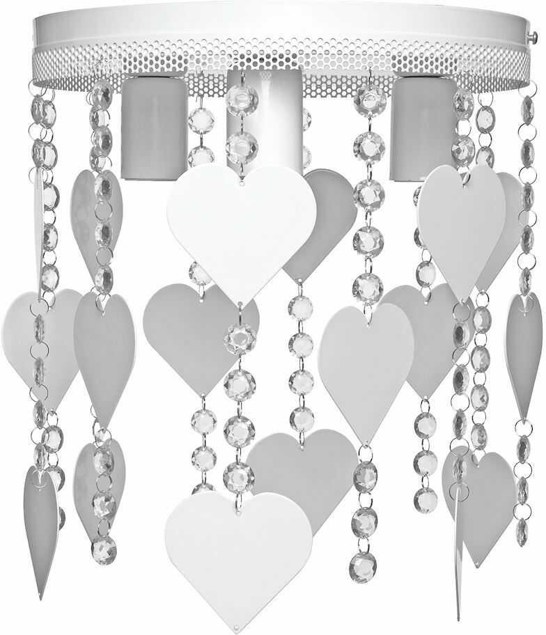 Milagro CORAZON MLP1148 plafon lampa sufitowa metal biały kryształki serca 3xE27 35cm