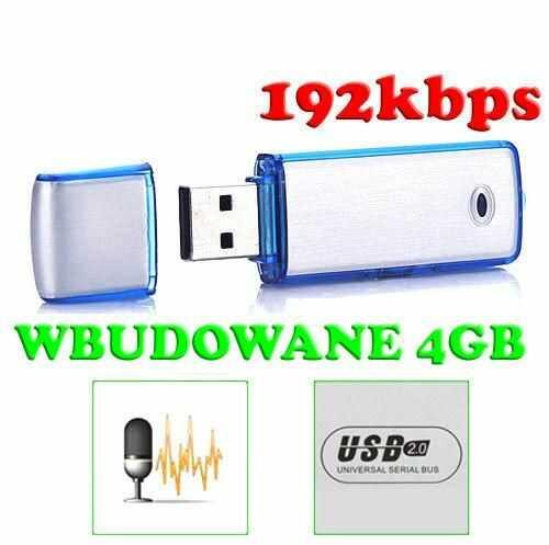 Mobilny Mikro-Dyktafon / Podsłuch Nagrywający Dźwięk, Ukryty w Pendrive 4GB (pojemność 48h!).