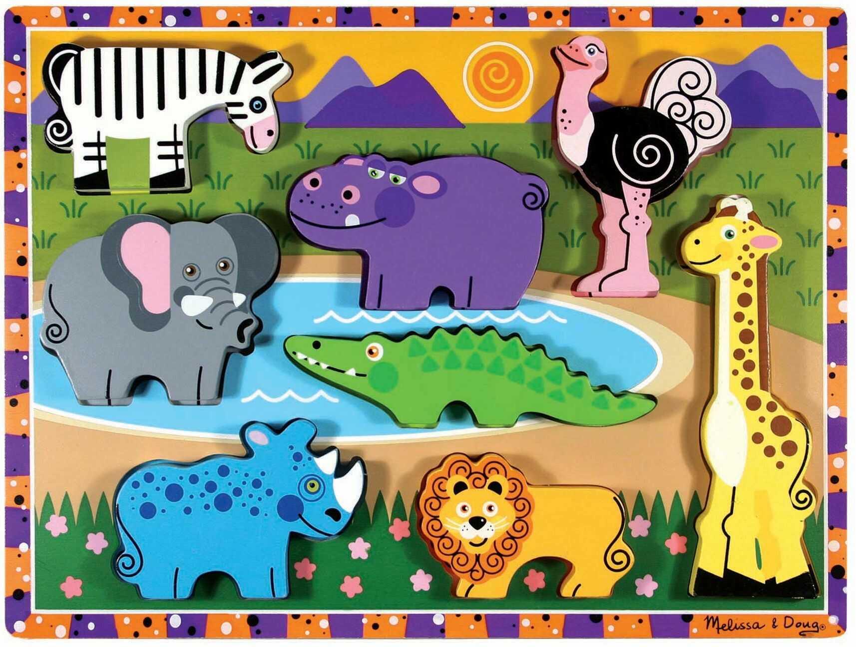 Melissa & Doug 13722 Doug Safari drewniane masywne puzzle, wielokolorowe
