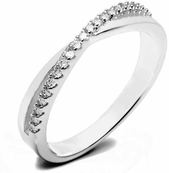 Pierścionek Srebrny Przeplatany Białymi Kamieniami - Pierścionek