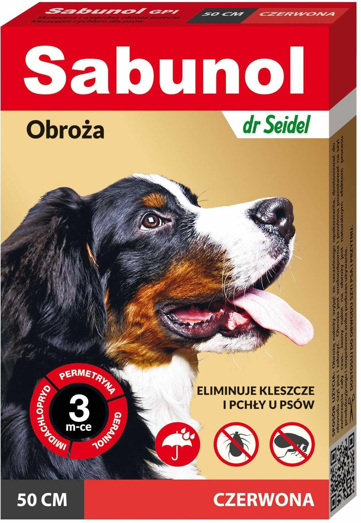 Sabunol GPIl czerwona obroża przeciwko pchłom i kleszczom dla psa 50 cm