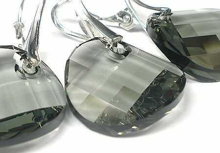 SWAROVSKI piękny komplet Black Diamond 18mm