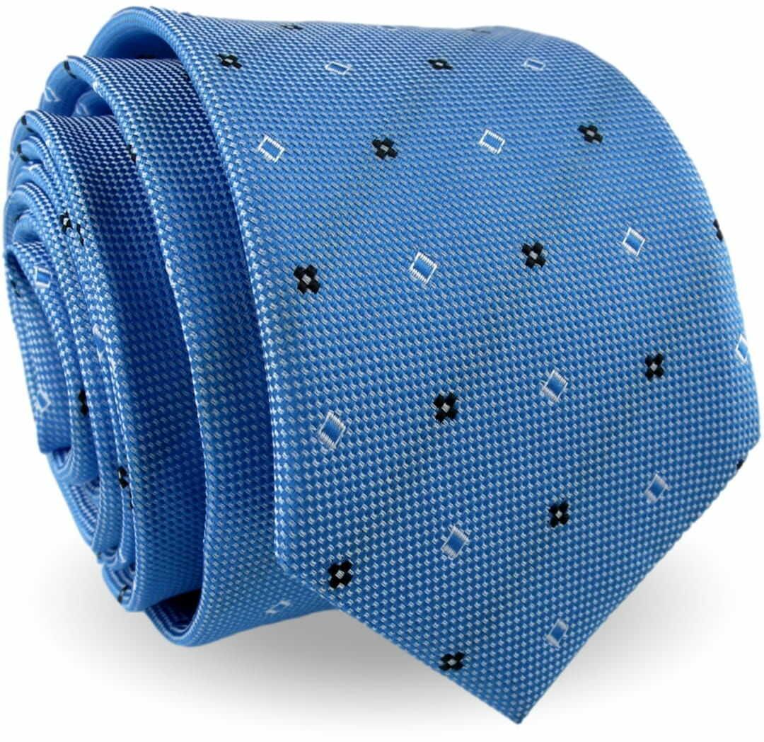 Krawat Męski Elegancki Modny Śledź wąski niebieski we wzorki G588