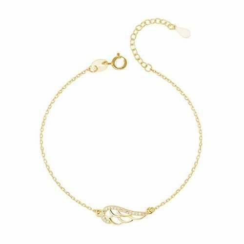 Pozłacana srebrna bransoletka szczęścia gwiazd celebrytka skrzydło anioła cyrkonie srebro 925 Z1449B_G