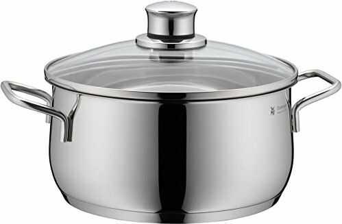 WMF Diadem Plus garnek do gotowania indukcyjnego garnek do smażenia 24 cm, garnek do indutkion 4,5 l, szklana pokrywka, polerowana stal nierdzewna Cromargan
