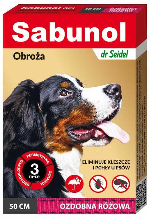 Sabunol obroża ozdobna różowa pies 50 cm