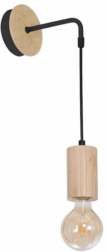 Milagro LINES MLP8824 kinkiet lampa ścienna metal czarny drewno 1xE27 40cm
