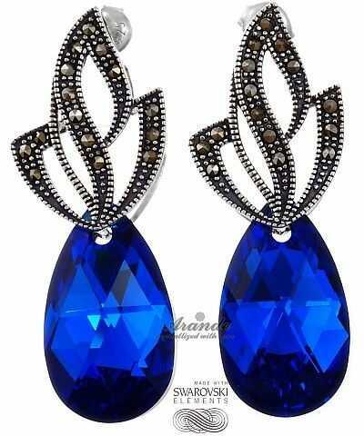Kryształy UNIKAT kolczyki BLUE COMET ADMIRE SREBRO
