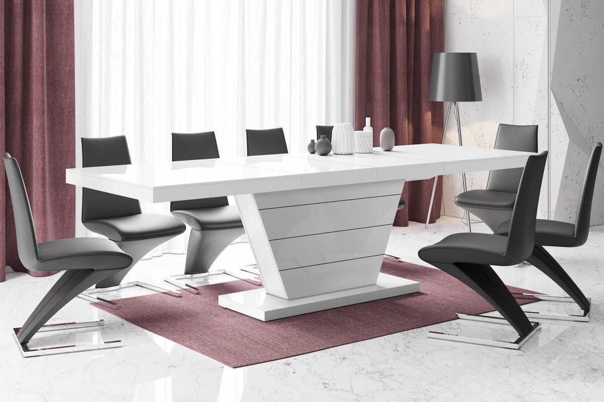 Rozkładany stół z wysokim połyskiem biały - Maizi