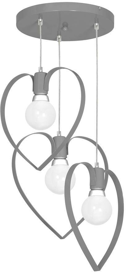 Milagro AMORE GREY MLP9823 lampa wisząca metalowe serca 3xE27 40cm
