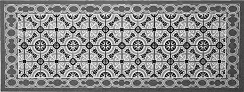 """oKu-Tex Wycieraczka mata zatrzymująca brud kolorowy wzór mozaikowy """"Deco-Sstyle"""" dywanik do wnętrz antypoślizgowa szary/antracyt 45 x 120 cm"""