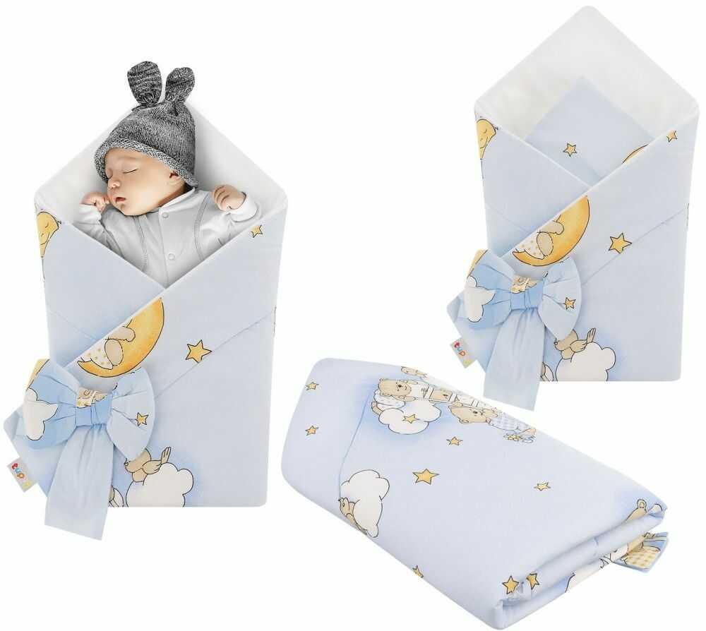 Rożek niemowlęcy bawełniany otulacz dziecięcy becik - MIŚ NA DRABINCE