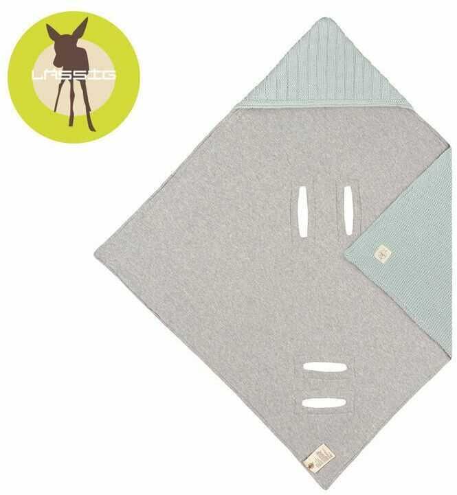 Lassig dziergany kocyk z kapturkiem do fotelika niemowlęcego 78 x 78 cm cozy home pastelowo-miętowy