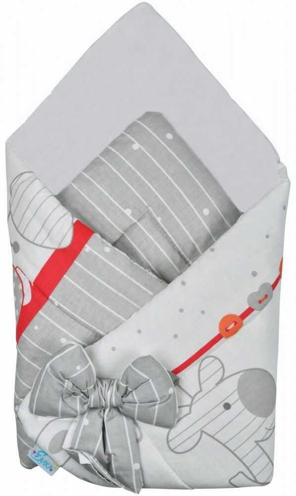 Rożek niemowlęcy bawełniany otulacz dziecięcy becik - ZOO CZERWIEŃ
