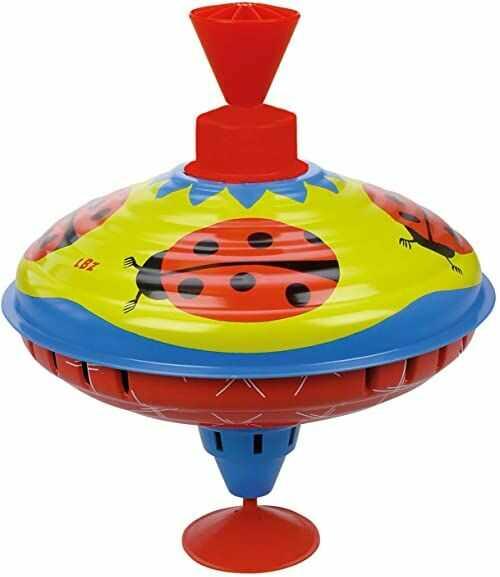 Lena 52261 blaszane zabawki koliowanie Ø 16 cm, obracanie, klasyczne działanie pompki, metalowy motyw biedronki, top z podstawą, dla dzieci od 18 miesięcy