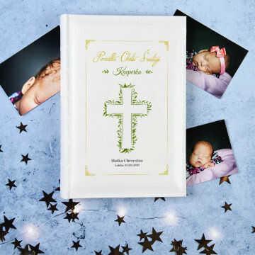 Pamiątka Chrztu listki - Personalizowany Album na zdjęcia