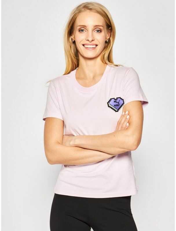 Puma T-Shirt Digital Love Tee 597068 Różowy Regular Fit