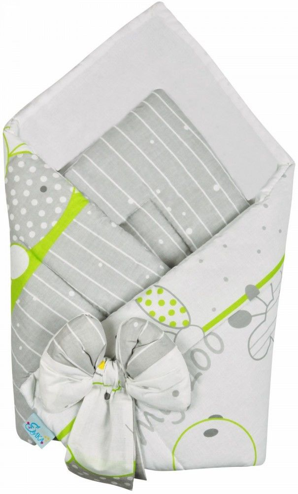 Rożek niemowlęcy bawełniany otulacz dziecięcy becik - ZOO ZIELEŃ