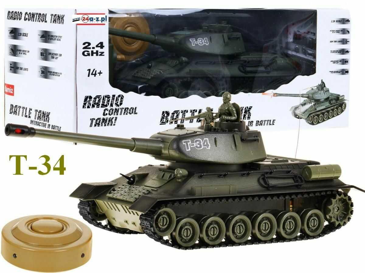 Duży Zdalnie Sterowany Legendarny Czołg T-34 + Bezprzewodowy Pilot + Mina + Efekty...