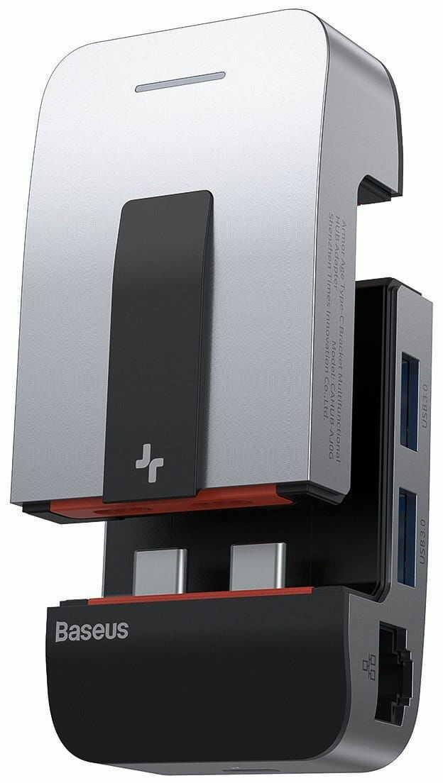Adapter 9w1 Baseus Armor Age, Hub 3x USB 3.0 + HDMI + 2x ThunderBolt 3 + USB-C + jack 3,5mm do Apple MacBook Pro