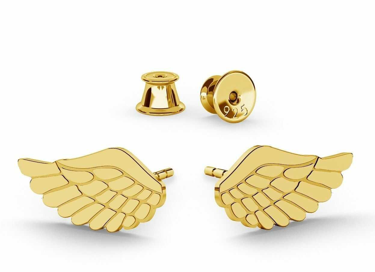 Srebrne kolczyki małe skrzydła anioła, srebro 925 : Srebro - kolor pokrycia - Pokrycie platyną