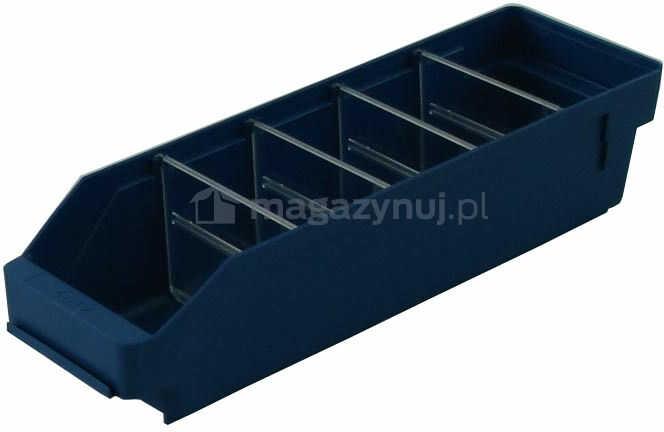 Pojemnik plastikowy warsztatowy z przekładkami. Wym: 400x120x95mm