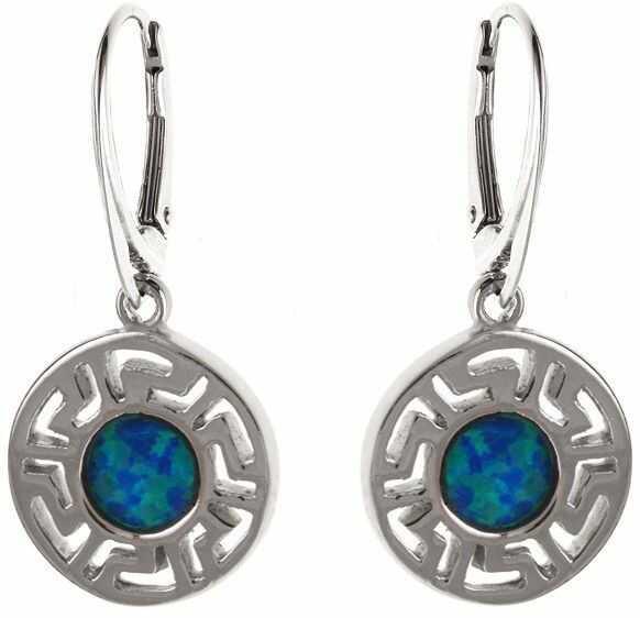 Eleganckie wiszące okrągłe rodowane srebrne kolczyki niebieski opal srebro 925 K1490