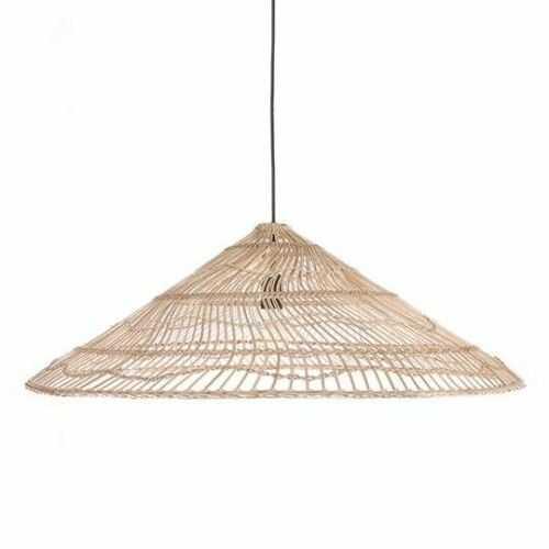 Lampa wisząca wiklinowa naturalna w kształcie trójkąta L