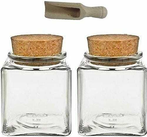 Viva Housewares słoik na przyprawy ze szkła z korkowym korkiem, do użytku jako słoiki szklane i puszki do przechowywania przypraw, soli itp., szkło, przezroczyste, 200 ml