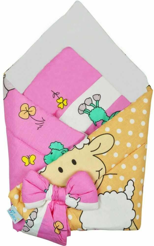 Rożek niemowlęcy bawełniany otulacz dziecięcy becik - OWCE BEŻ