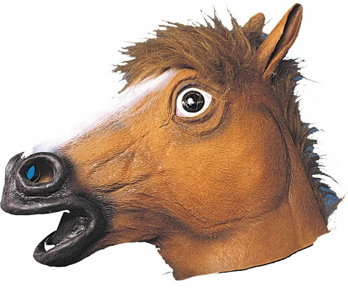 Ciao 30168  maska koń z lateksu, brązowa